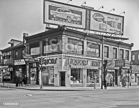 Camden, New Jersey, USA - March 15, 1956: A historical photo of stores at Broadway & Kaign Ave I made 55 years ago. Before malls,  the stores from here along Broadway to Market street was the main place where people shopped.