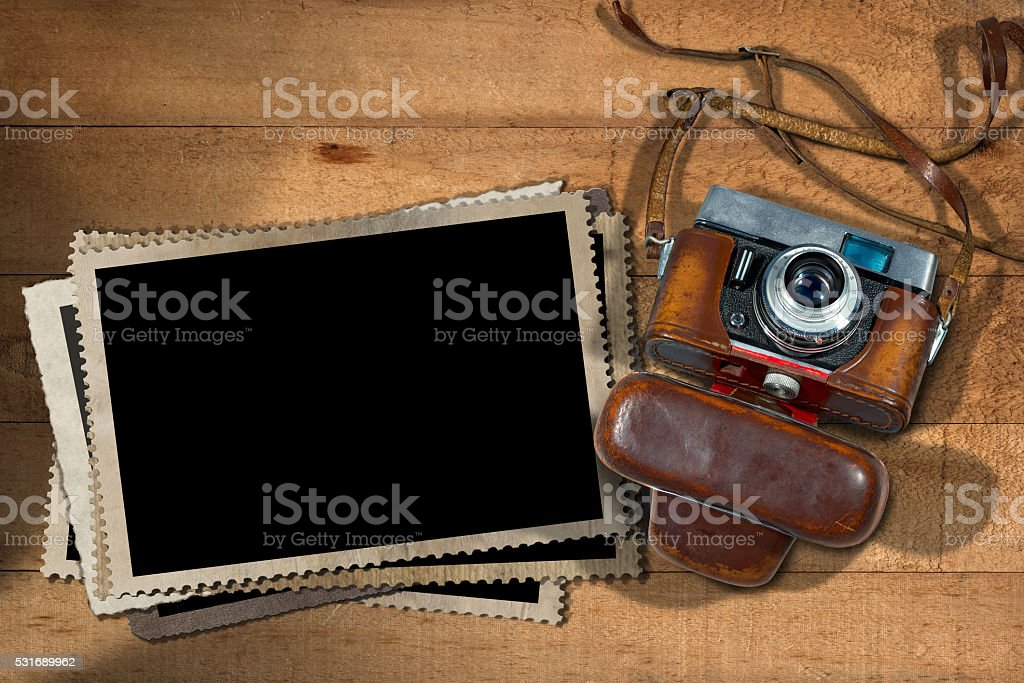 Old Camera And Blank Photo Frames Stock Photo & More Pictures of ...