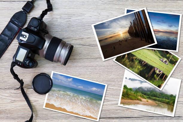 古いカメラとグランジ ビンテージ木製の背景、写真趣味ライフ スタイル コンセプト上の写真のスタック - カメラ ストックフォトと画像