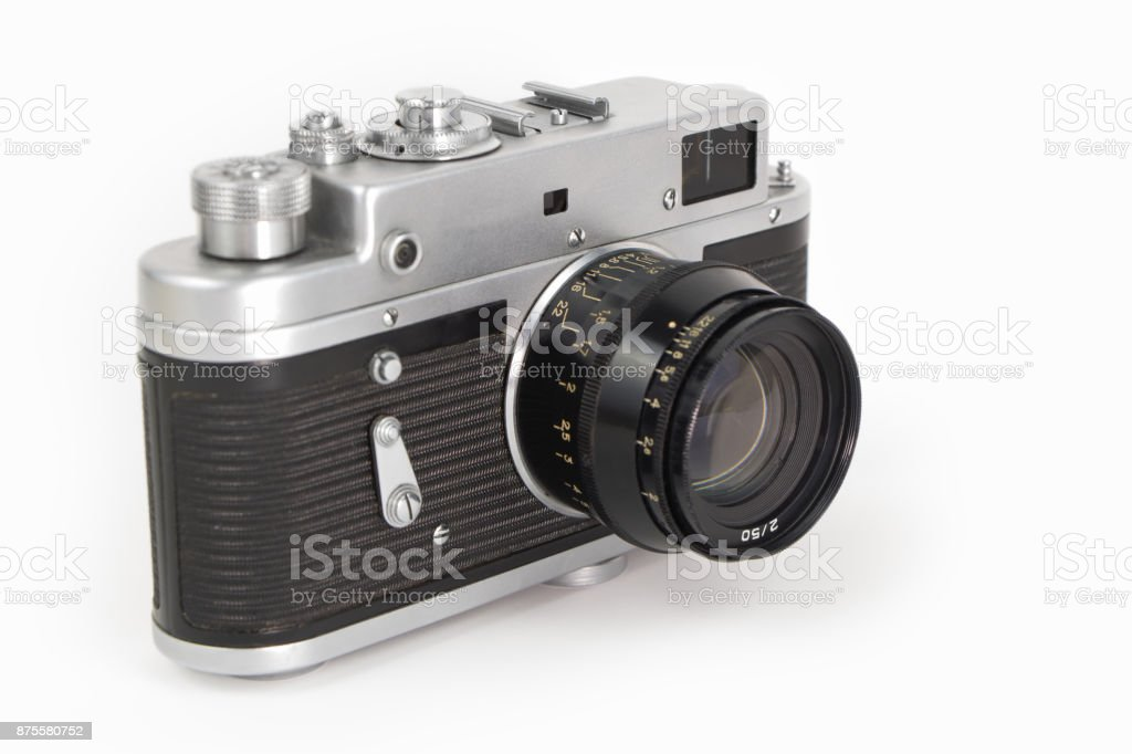 Old camera on white background