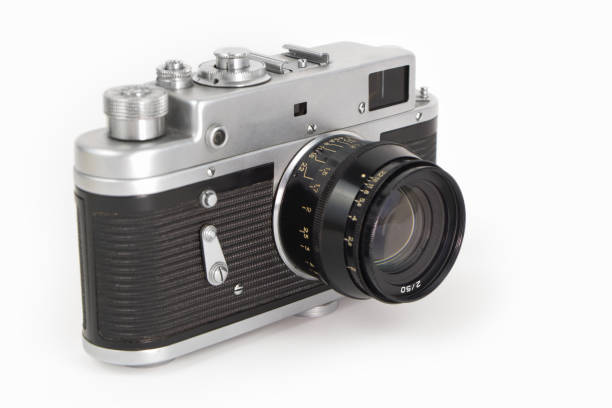 Old camera on white background stock photo