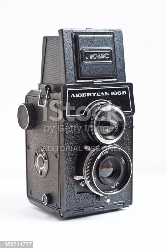 Katowice, Poland - April 16, 2013: Old Lubitel camera. Lubitel is a russian camera brand manufactured between 1954 and 1980.
