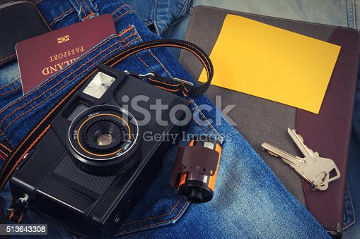 istock Old camera, vintage camera films popular in the past. 513643308