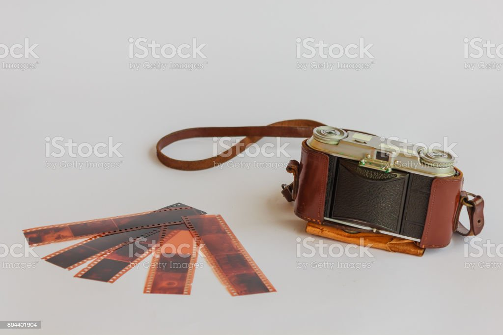 old camera with negative stock photo