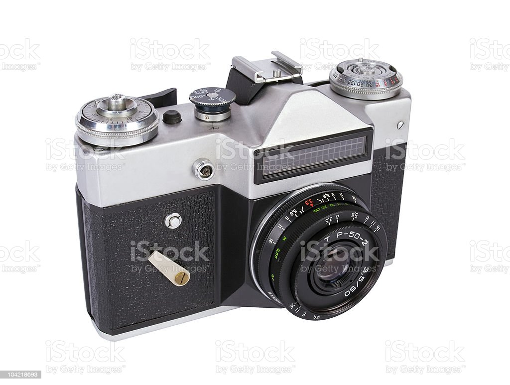 old camera with small lens stock photo