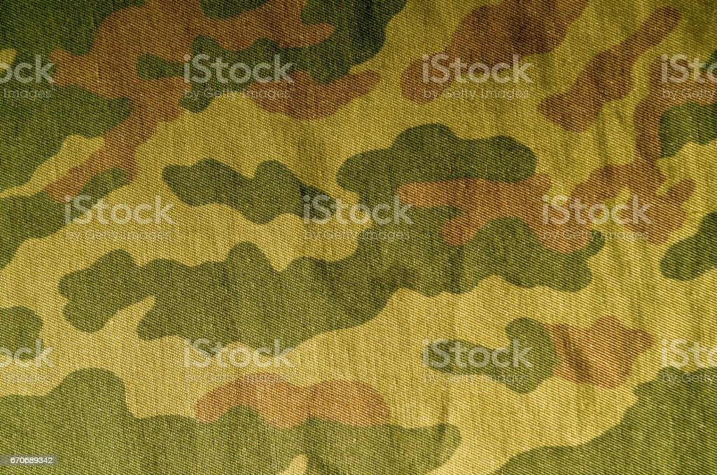 Old camouflage uniform pattern. stock photo