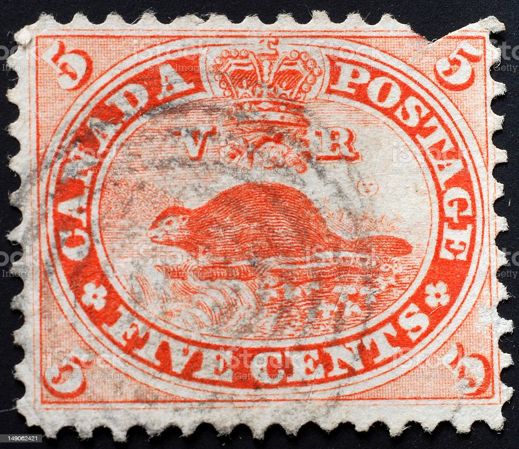 Old Canadian stamp stock photo
