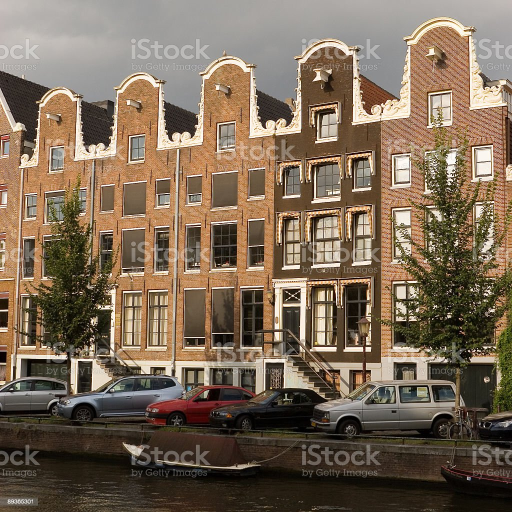 Old canal houses of amsterdam royalty-free stock photo