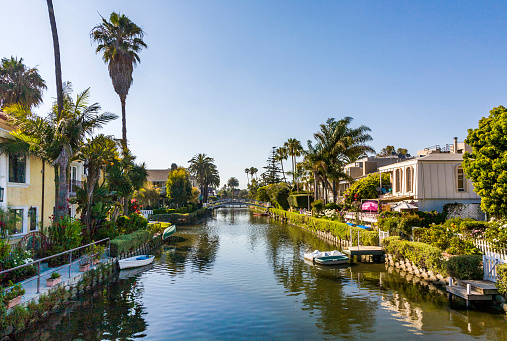 old canals of Venice, build by Abbot Kinney in California, beautiful living area