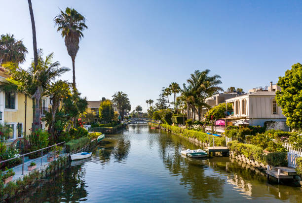 old canals of Venice in California, beautiful living area old canals of Venice, build by Abbot Kinney in California, beautiful living area venice beach stock pictures, royalty-free photos & images
