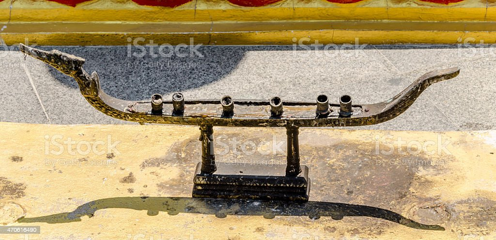 old candle stand in thai temple stock photo