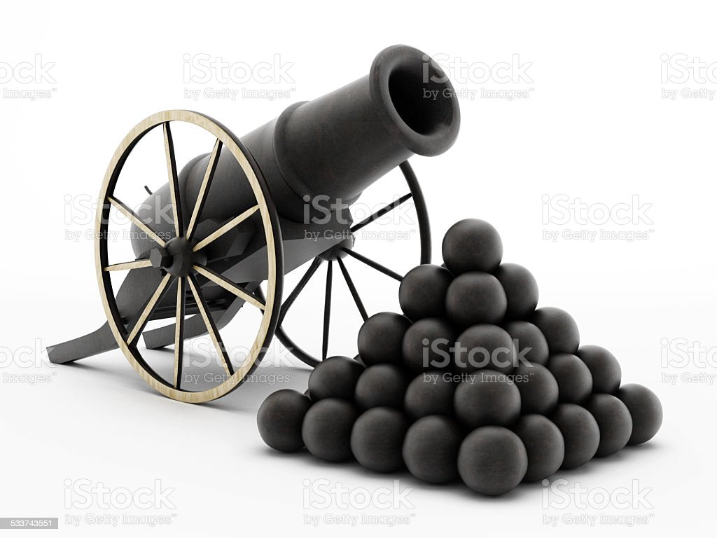 Old cannon and cannon balls stock photo