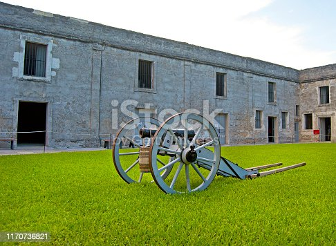 16th century cannon on display in the middle of the Castillo de San Marcos old fort, Saint Augustine, Florida, USA