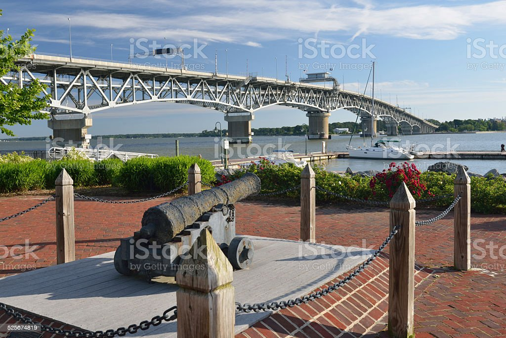 Old Cannon by York River in Yorktown of Virginia stock photo
