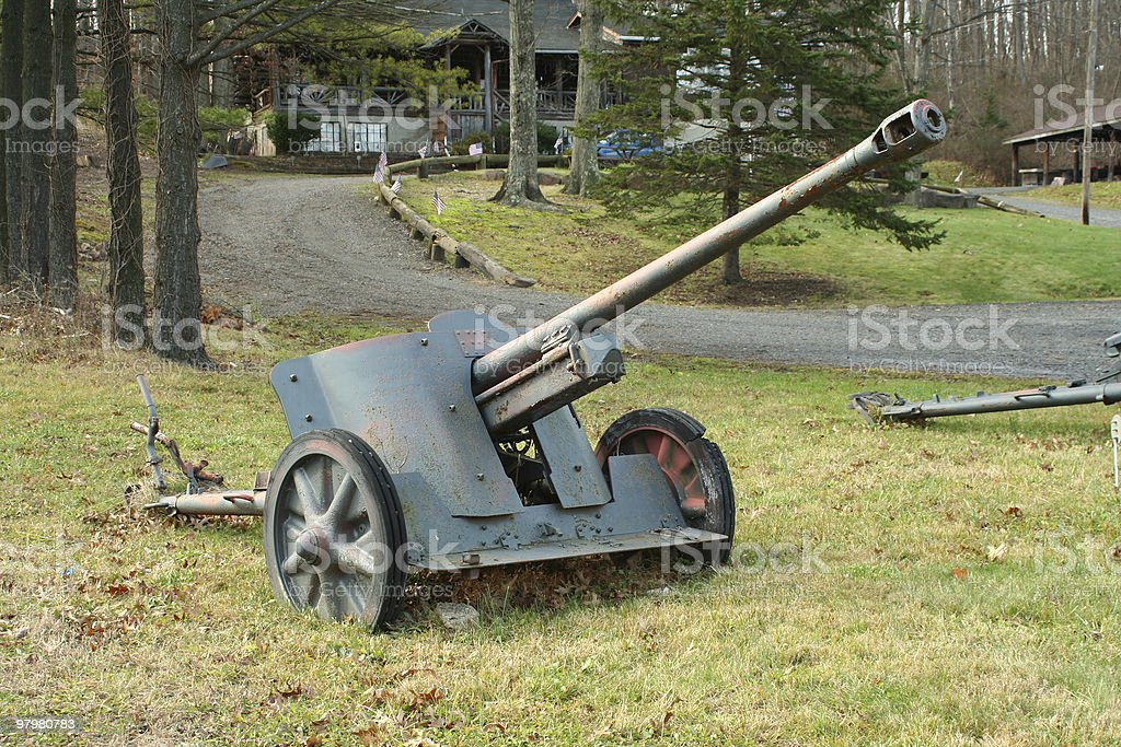 Old cannon from WW ll royalty-free stock photo
