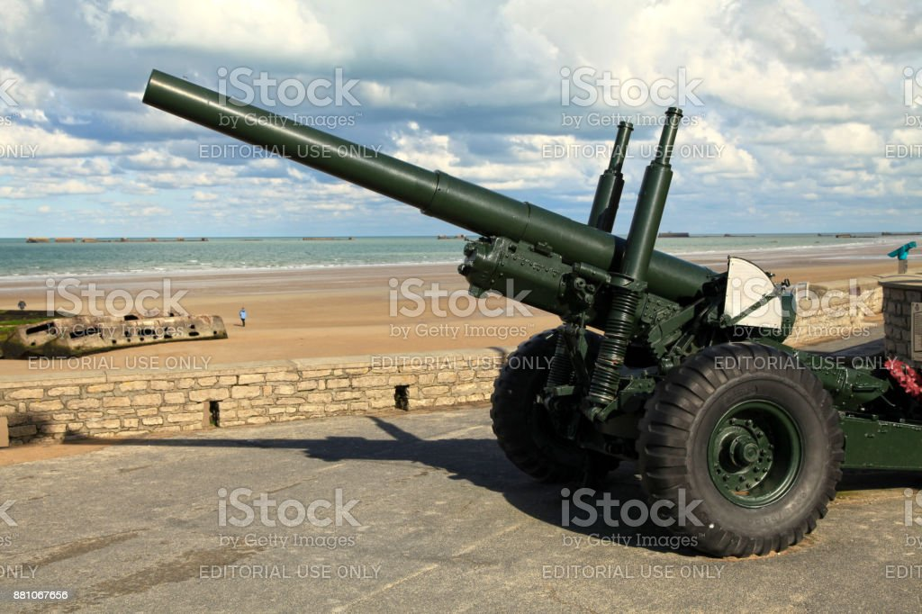 Old cannon in Arromanches stock photo