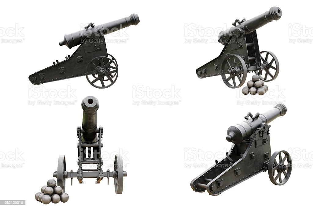 old cannon in four projections stock photo