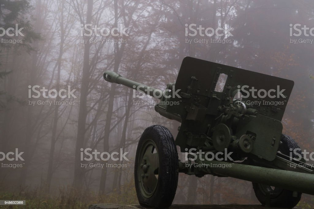 Old cannon in the hill, a historical monument. stock photo