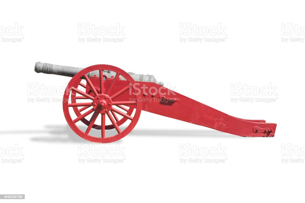 Old Cannon isolated on white with clipping path stock photo