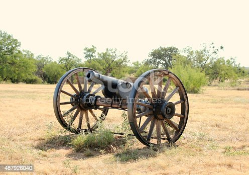 Civil war era cannon in a fuel in west Texas.