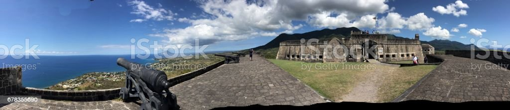 Old cannons at Brimstone Hill Fortress, St. Kitts stock photo