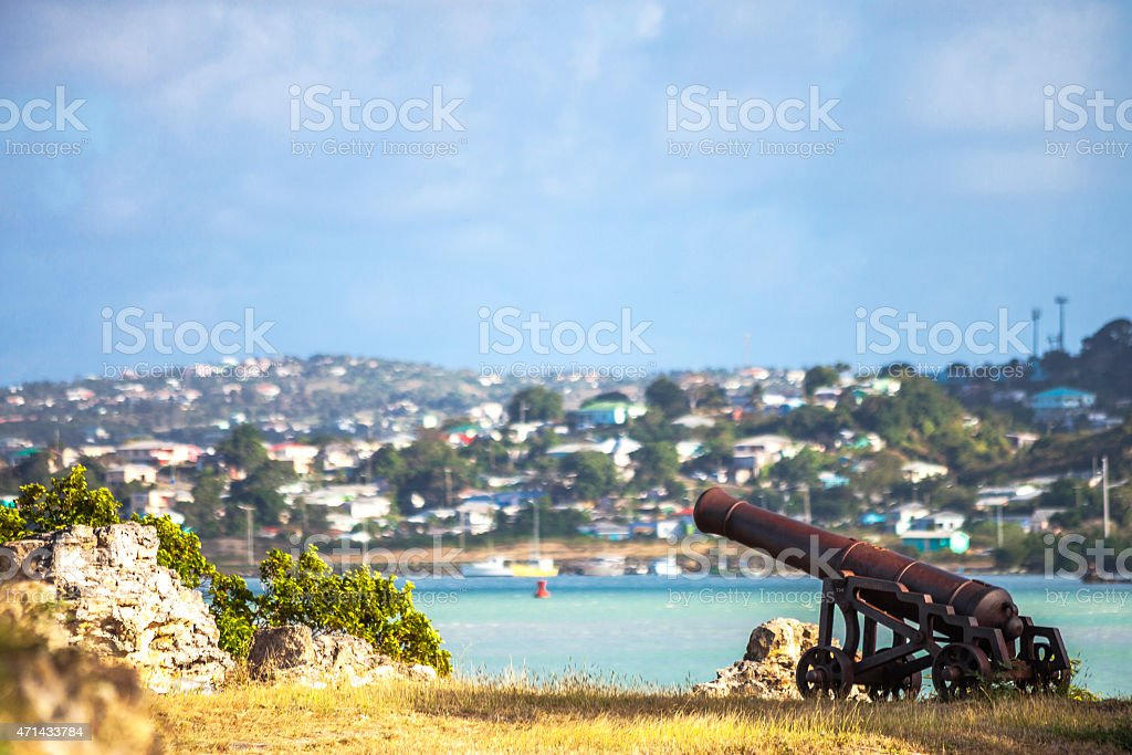 Old cannons at Fort James. St John's, Antigua & Barbuda. stock photo