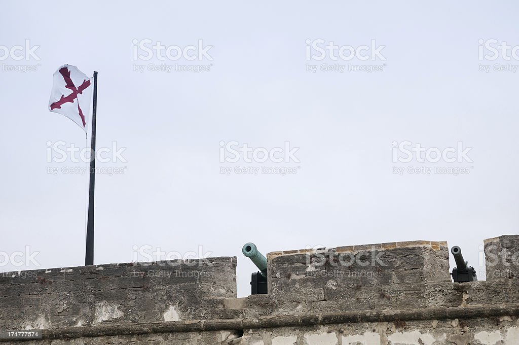 Old cannons at the Castillo San Marcos, St. Augustine, Florida royalty-free stock photo