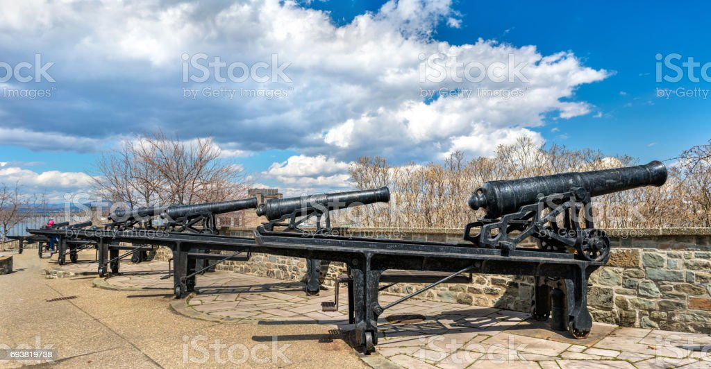 Old cannons in Montmorency Park - Quebec City, Canada stock photo
