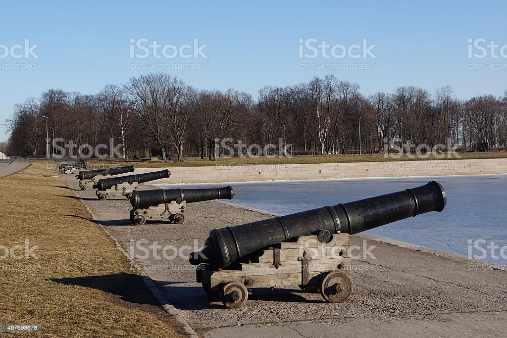 old cannons Kronstadt stock photo