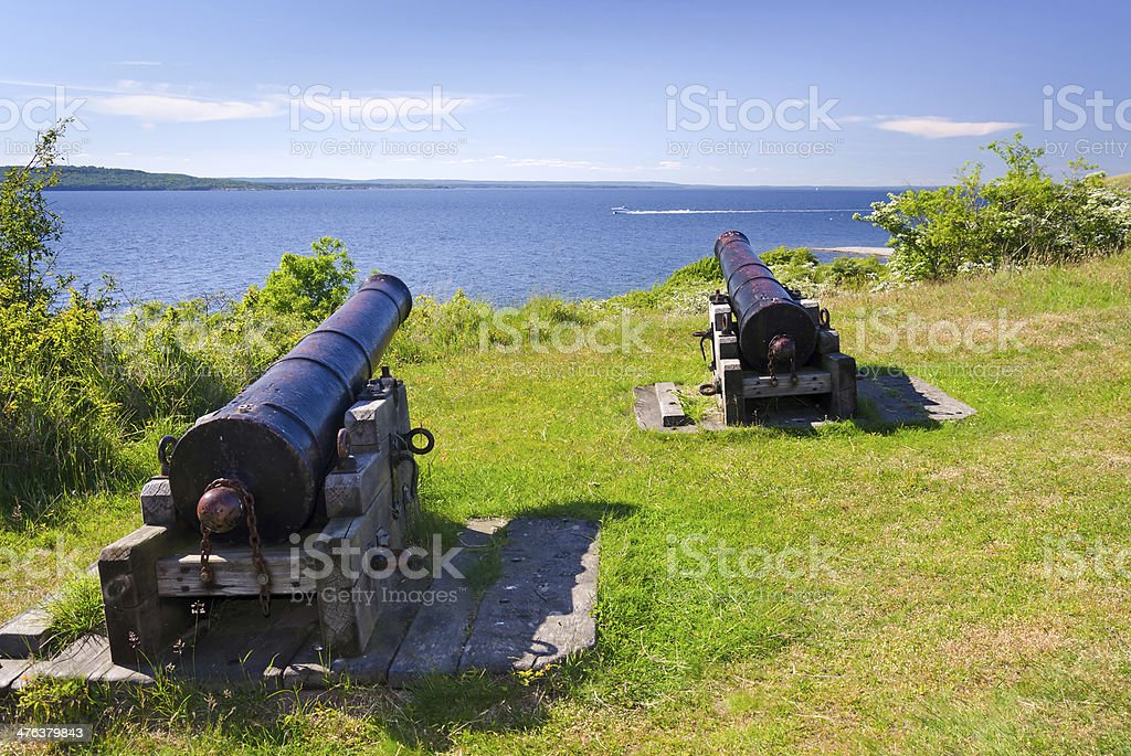 Old cannons on Hano island royalty-free stock photo