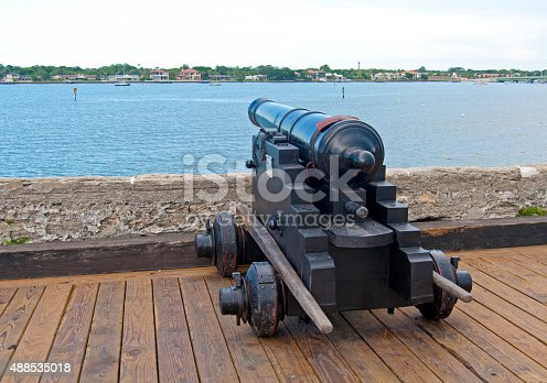 istock Old canon aiming at the sea 488535018