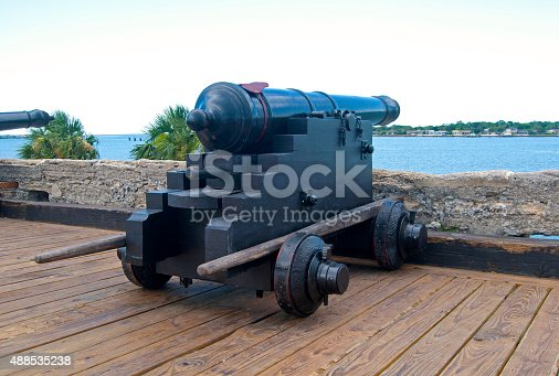 istock Old canon aiming at the sea 488535238