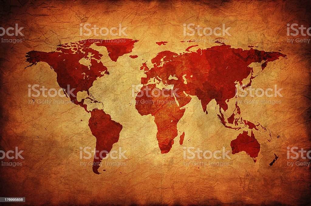 Old canvas with world map. stock photo