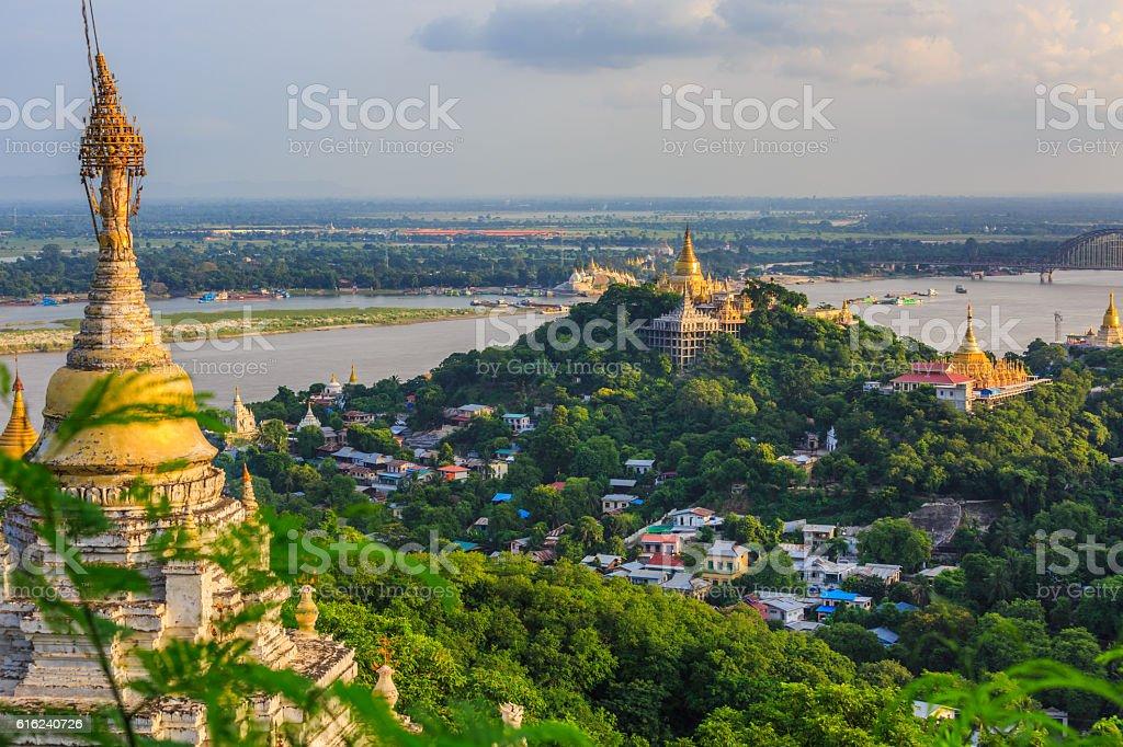 Old capital Sagaing at twilight, Sagaing, Myanmar stock photo