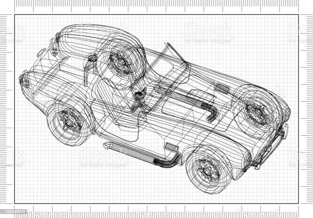 Old Car 3d Blueprint Stock Photo - Download Image Now - iStock