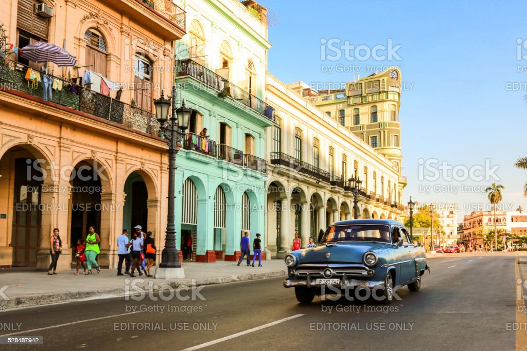 Old car at Havana streets stock photo