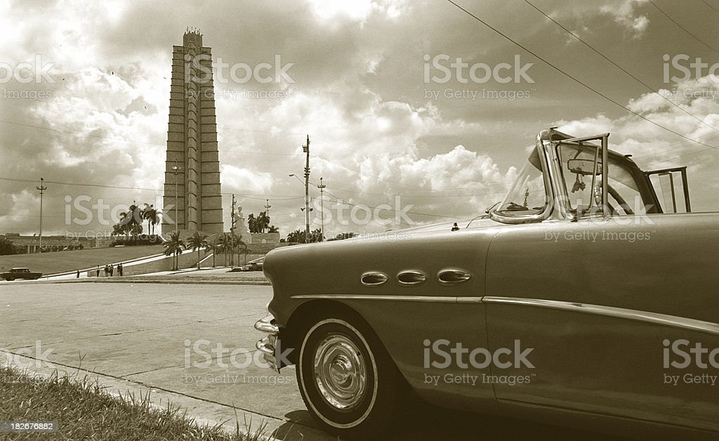 Old car at the square royalty-free stock photo