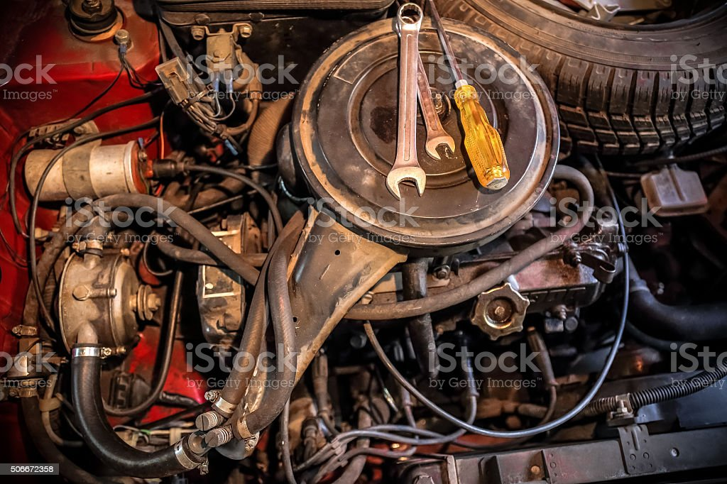Old Car Engine Bay With Lpg Device In A Garage Stock Photo & More ...