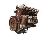 istock Old car engine isolated on white background. Rusty automotive engine. ( Clipping path ) 1147956482