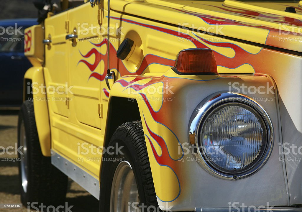 Old car flame paint job royalty-free stock photo