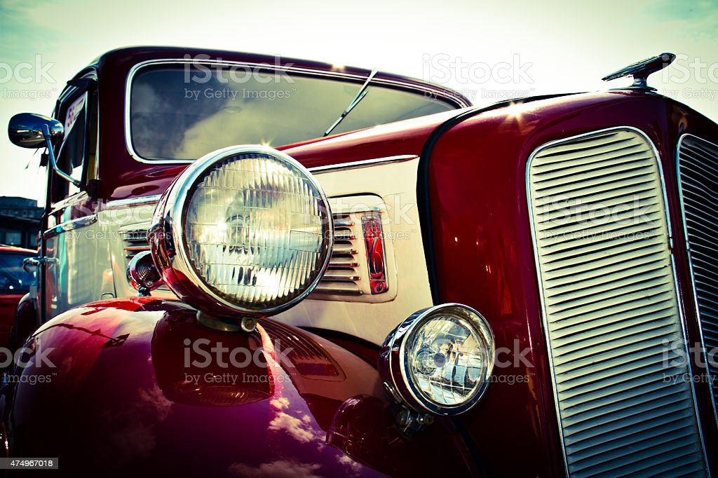 Old car front view stock photo