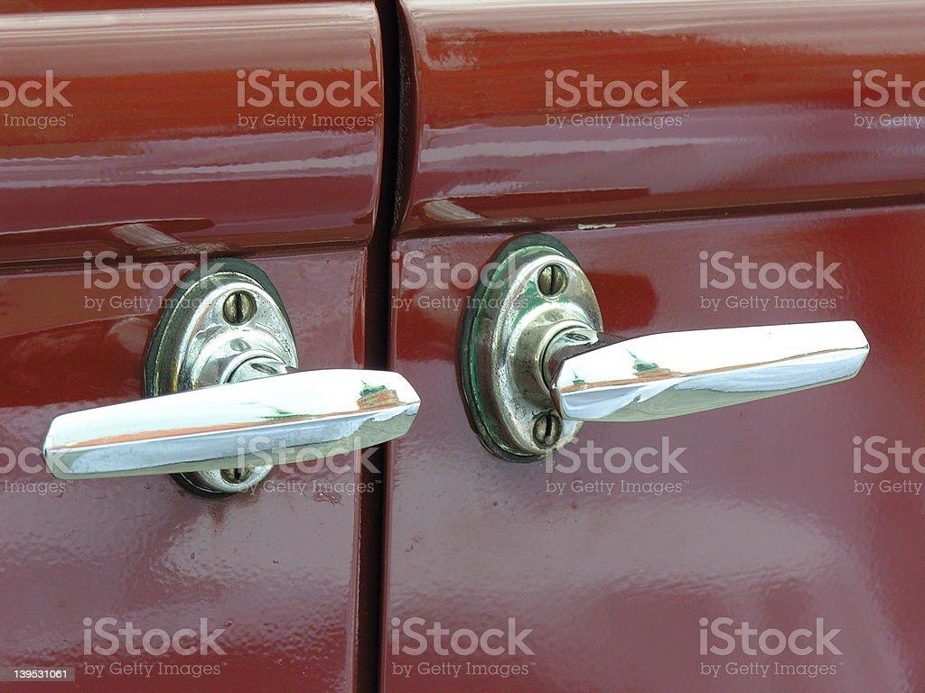 Old car handles royalty-free stock photo