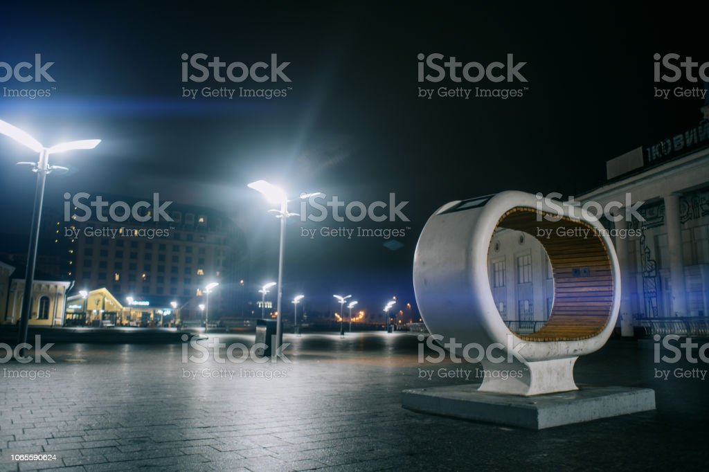 Old car hedlight with sunset on background stock photo
