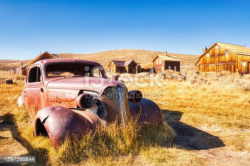 Old Car in Bodie Ghost Town, Historical State Park in California, USA