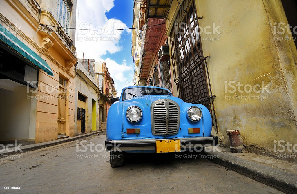 Old car in colorful Havana street royalty-free stock photo