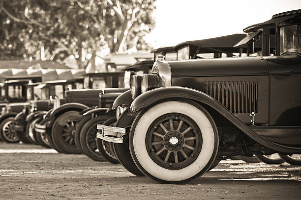 Old car line up stock photo
