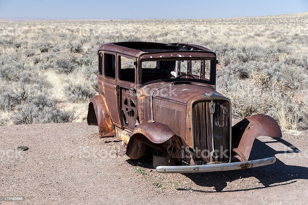 Old Car on Route 66 royalty-free stock photo
