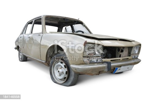 Old and damaged car isolated on white background.
