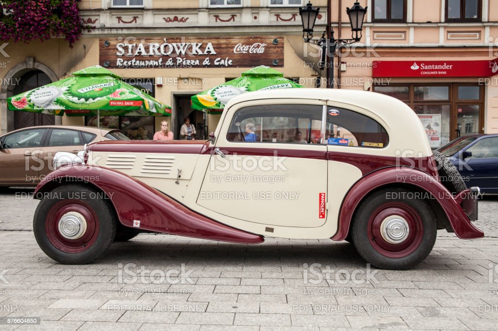 Old Car Praga Side View Retro Design Car Exhibition Of Vintage Cars ...