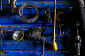 istock Old car spare parts 813146052